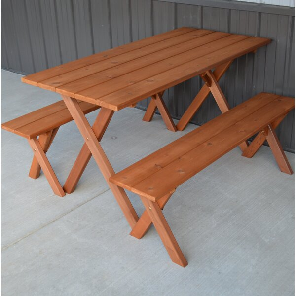 Vindas Cedar Economy Wooden Picnic Table by August Grove