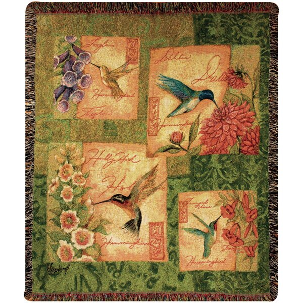 Wings and Blossoms Tapestry Cotton Throw by Manual Woodworkers & Weavers
