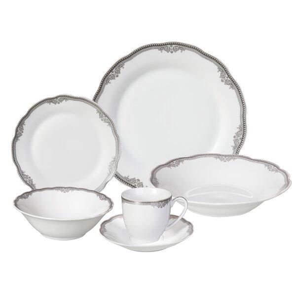 Elizabeth 24 Piece Porcelain Dinnerware Set, Servi