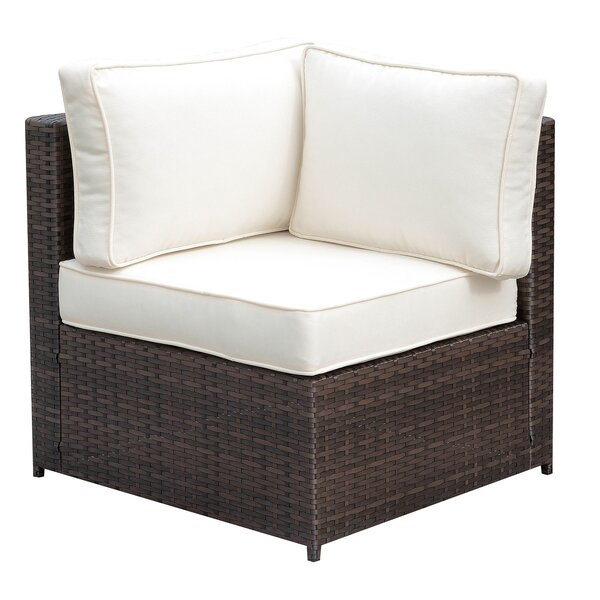 Kilmarnock Faux Rattan Corner Patio Chair with Cushions by Ivy Bronx