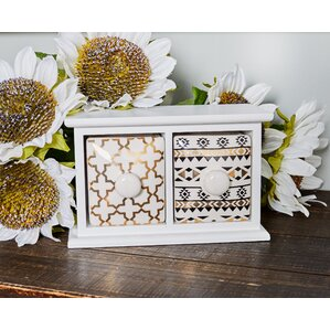 Modern 2-Drawer Wood and Porcelain Jewelry Box by Bungalow Rose
