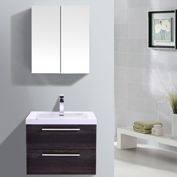 Sandifer 23 Wall-Mounted Single Bathroom Vanity Set with Mirror by Orren Ellis