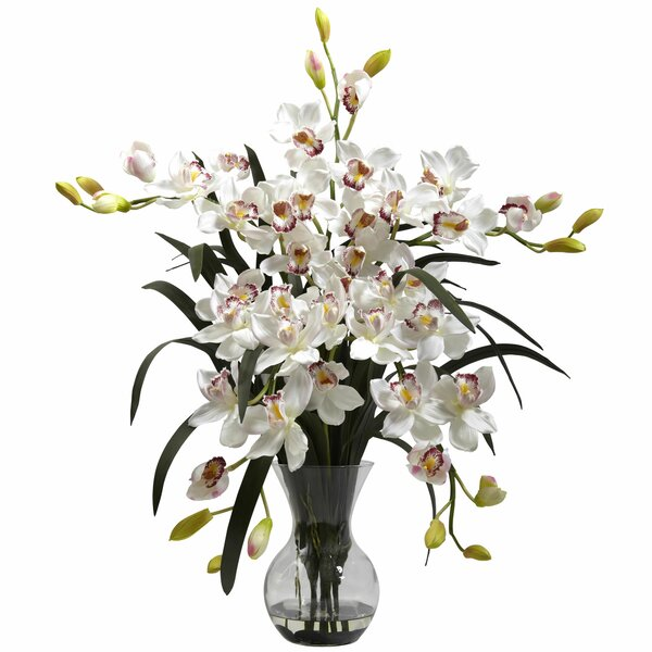 Large Cymbidium with Vase Arrangement by Three Pos