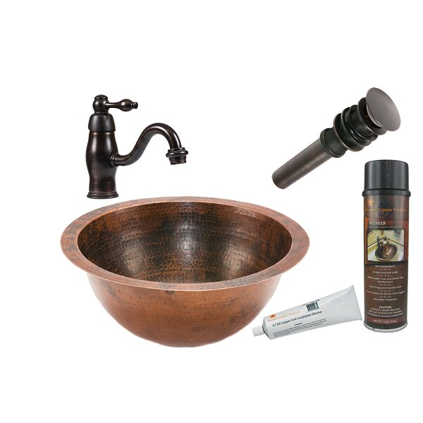 Oil Rubbed Bronze Metal Hand Hammered Circular Undermount Bathroom Sink with Faucet