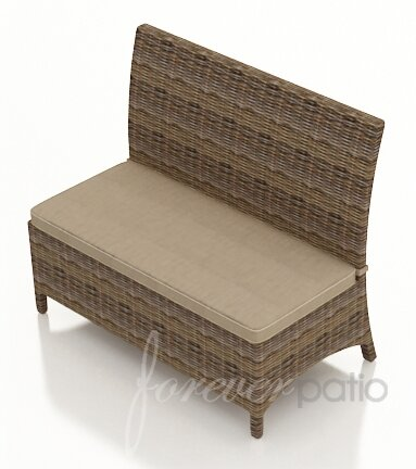 Demetra Wicker Loveseat Bench with Cushion by Highland Dunes