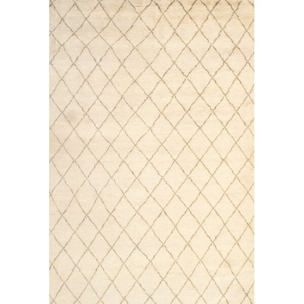 Moroccan Modern Hand-Knotted Wool Ivory Area Rug by Pasargad NY