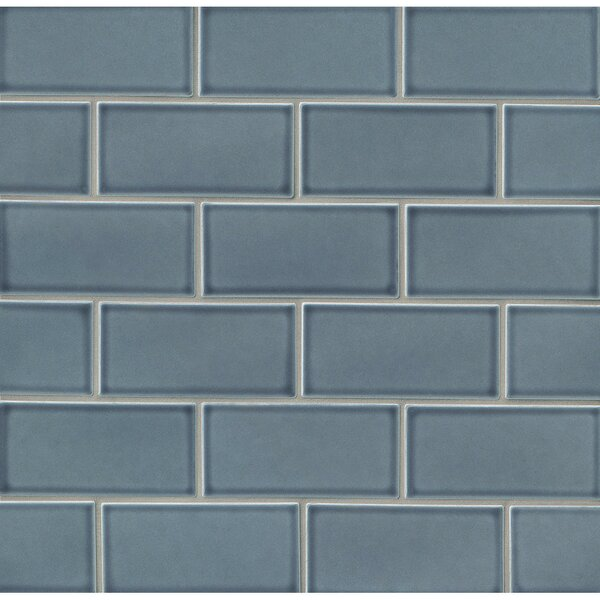 Park Place 3 x 6 Ceramic Subway Tile in Blue by Grayson Martin