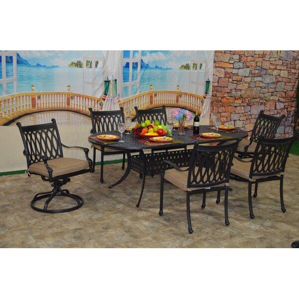 Brittani 7 Piece Sunbrella Dining Set with Cushions by Fleur De Lis Living