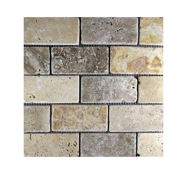 Tumbled 2 x 4 Natural Stone Mosaic Tile in Gold/Noce by QDI Surfaces
