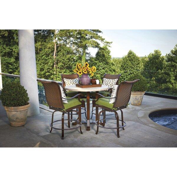 Braymer 5 Piece Teak Sunbrella Dining Set with Cushions Bayou Breeze W003221331