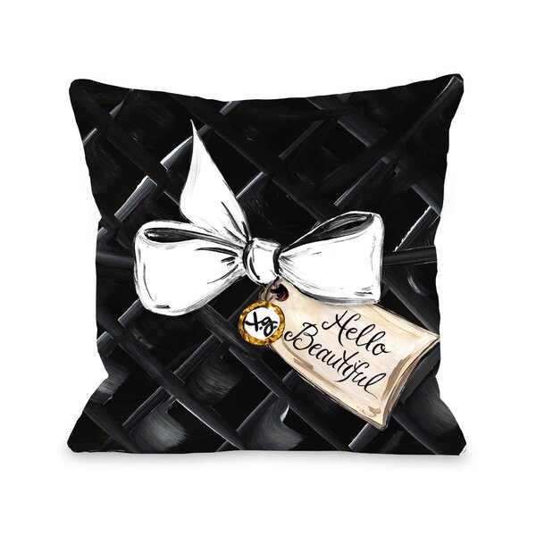 Hello Beautiful Bow Glitter Throw Pillow by One Bella Casa