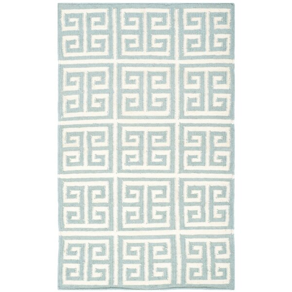 Dhurries Hand-Woven Wool Blue/Ivory Area Rug by Safavieh