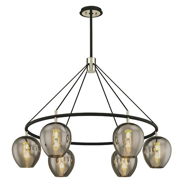Hatley 6 - Light Shaded Wagon Wheel Chandelier by Williston Forge Williston Forge