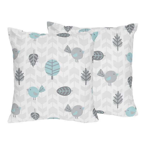 Earth and Sky Bird Print Throw Pillow (Set of 2) by Sweet Jojo Designs
