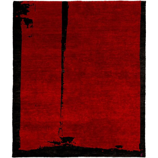 One-of-a-Kind Växjö Hand-Knotted Tibetan Red/Black 8' Square Wool Area Rug