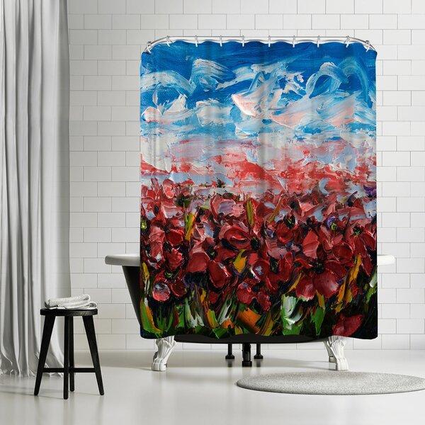 OLena Art Poppy Field Shower Curtain by East Urban Home