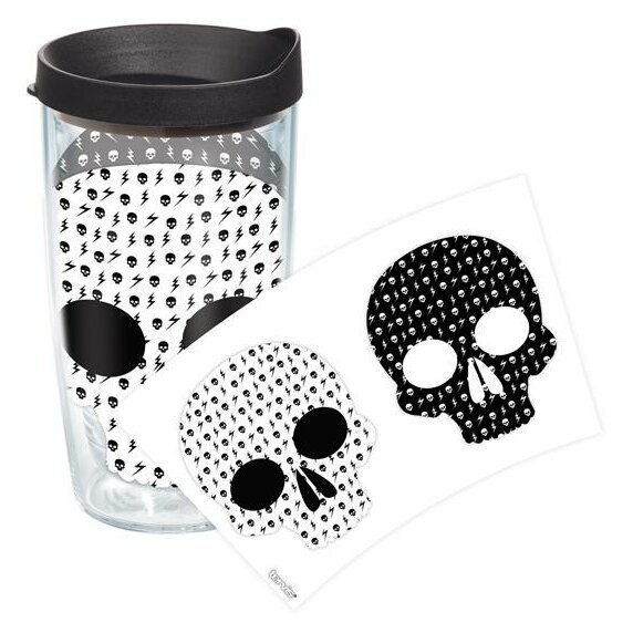 On Trend Black and White Skulls Plastic Travel Tumbler by Tervis Tumbler