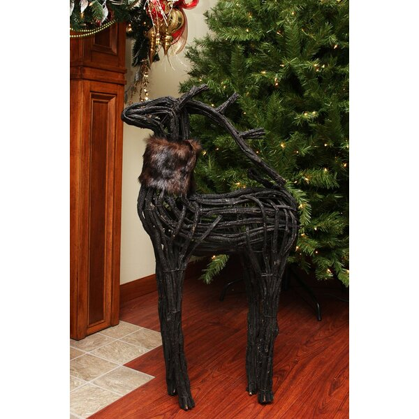 Wicker Standing Reindeer Christmas Decoration by N