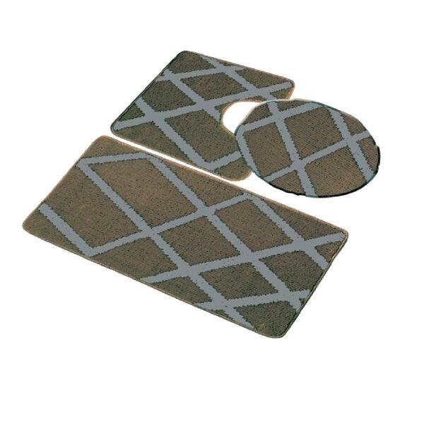 Auderghem Multiple Non-Slip Geometric 3 piece Bath Rug Set
