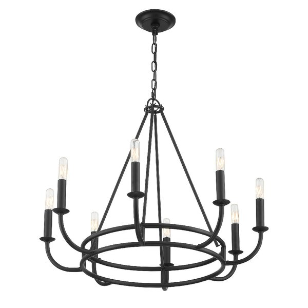 Hughesdale 8 - Light Candle Style Wagon Wheel Chandelier By Mercer41
