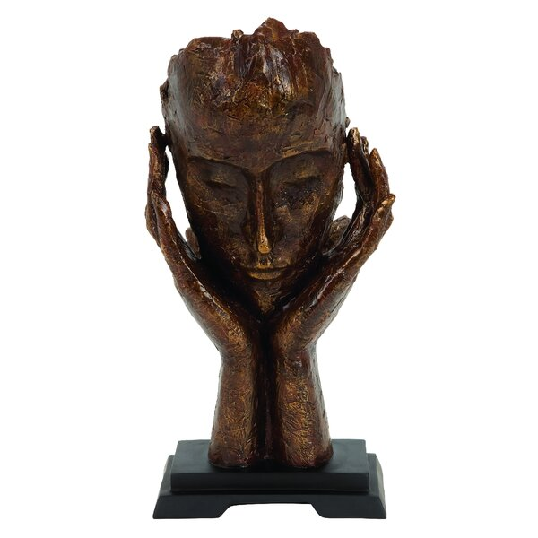 Brown Polystone Meditator Bust by World Menagerie