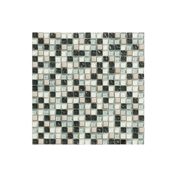 Port 12 x 12 Glass Mosaic Tile in Black/Teal by Kellani