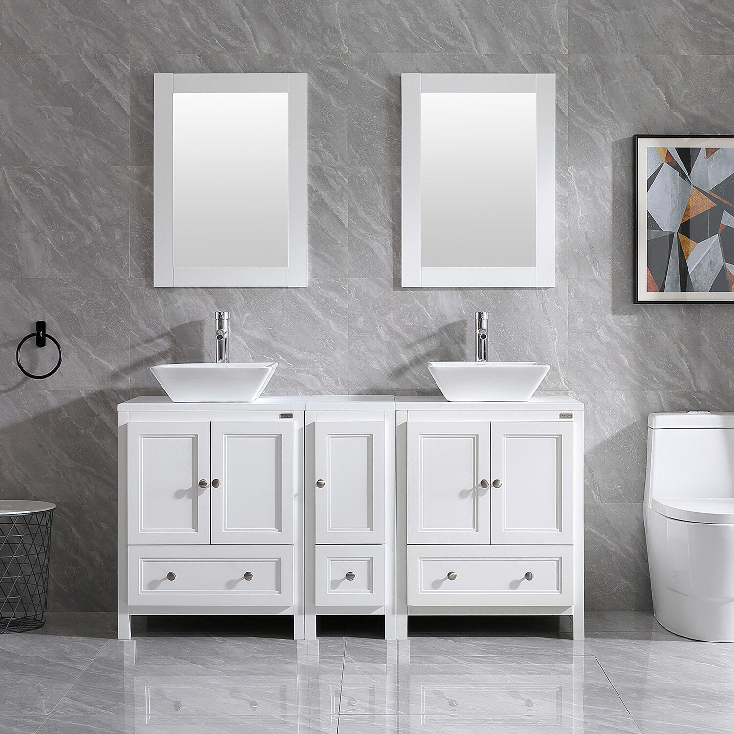Highland Dunes Mclawhorn 61 4 Double Bathroom Vanity Set With Mirror Reviews Wayfair