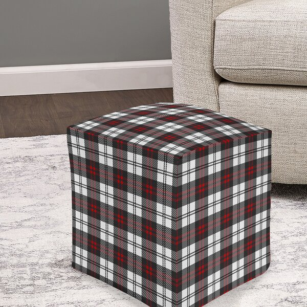 Satchell Cozy Plaid Pouf by Millwood Pines
