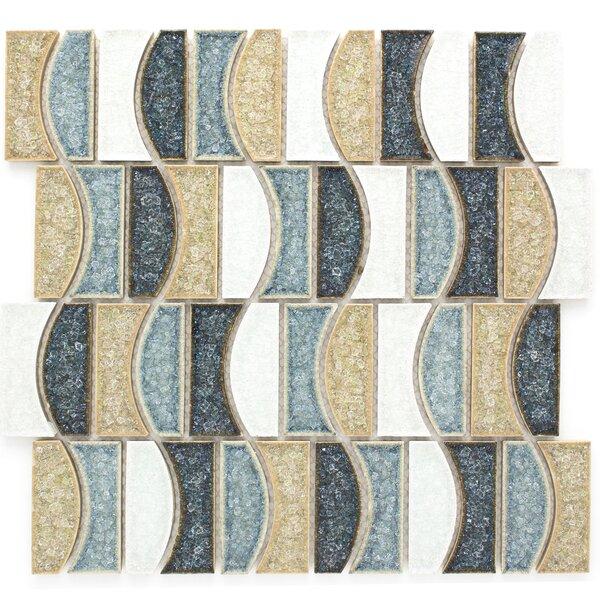 Roman Art Random Sized Glass Mosaic Tile in Brown/Blue by Multile