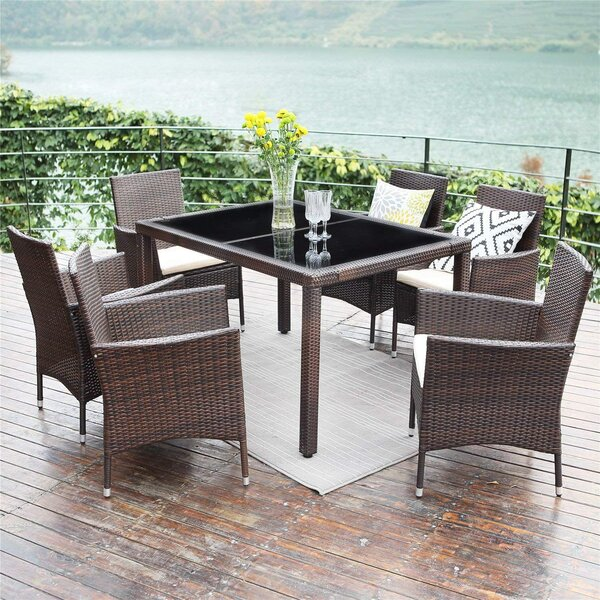 Adris 7 Piece Dining Set with Cushions by Latitude Run