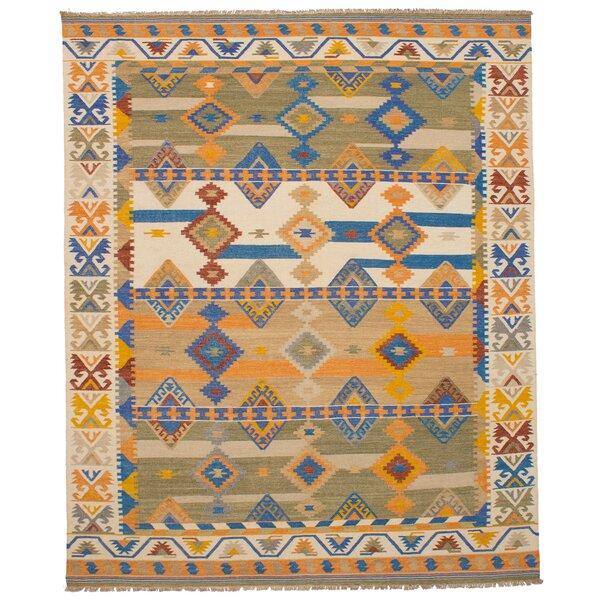 Pavlatka Kilim Hand-Woven Wool Cream/Blue Area Rug by Loon Peak