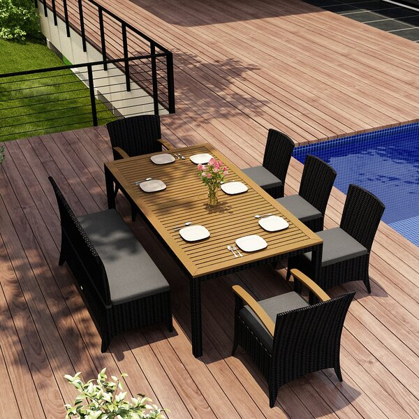 Holbrook 7 Piece Teak Dining Set with Sunbrella Cushions by Rosecliff Heights