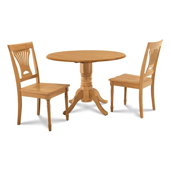 Chesterton Transitional 3 Piece Solid Wood Dining Set by Alcott Hill