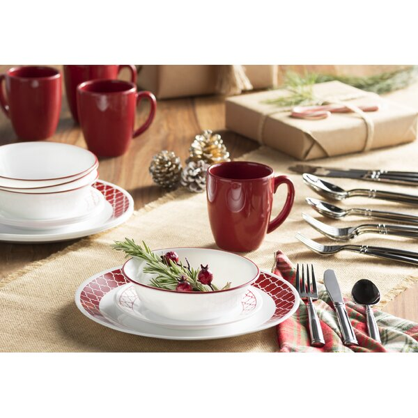 Livingware Crimson Trellis 16 Piece Dinnerware Set, Service for 4 by Corelle