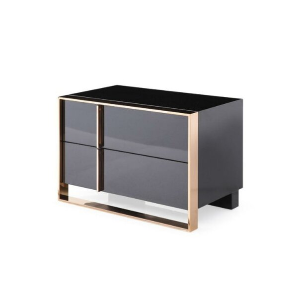 West Stockbridge Wood and Metal 2 Drawer Nightstand by Everly Quinn