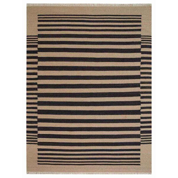 Reynosa Hand-Woven Wool Cream/Charcoal Area Rug by Wrought Studio