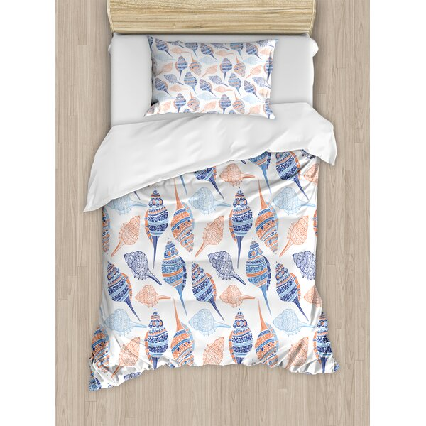 Ocean Marine Life Themed Abstract Seashells Scallops With Bohemic Prints Duvet Set by Ambesonne