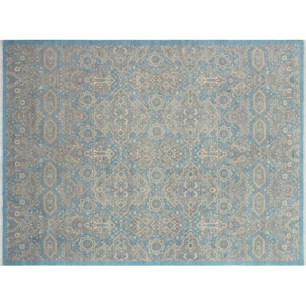 Rosewood Hand-Knotted Lite Blue Area Rug by Canora Grey