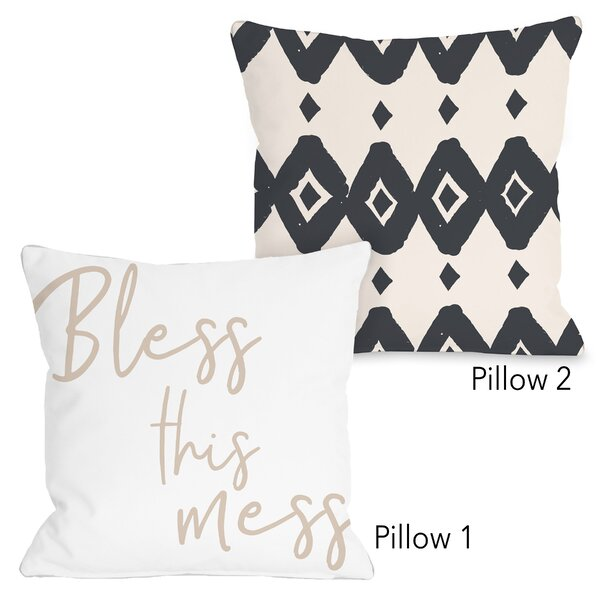 Dwyer Bless This Mess 2 Piece Throw Pillow Set by Bungalow Rose