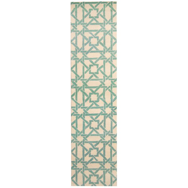 Hand-tufted Ivory/Teal Area Rug by Herat Oriental