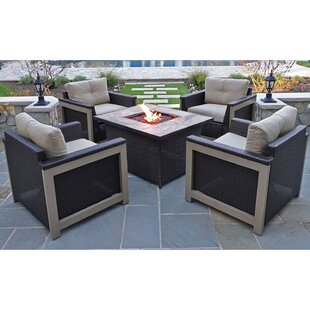 Newstead 5 Piece Conversation Set with Cushions By Longshore Tides