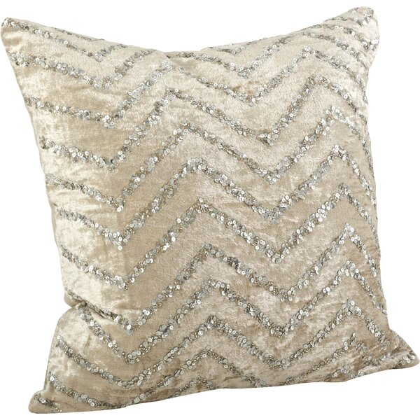 Sparkling Velvet Sequined Cotton Throw Pillow by Saro