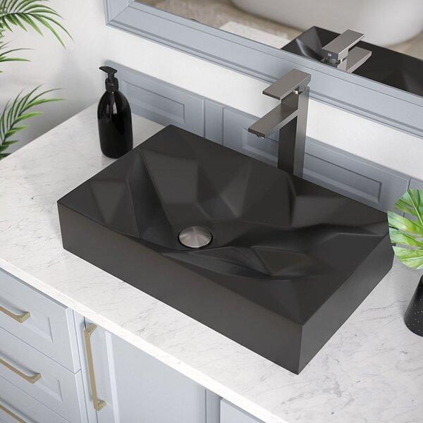 Porcelain Rectangular Vessel Bathroom Sink with Faucet