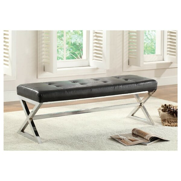 Nickel Faux Leather Upholstered Bench by Latitude Run