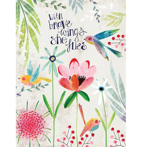With Brave Wings She Flies by Kate Mason Paper Print by Oopsy Daisy