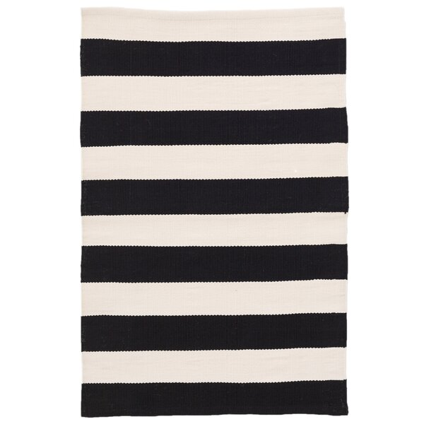 Catamaran Stripe Black/Off-White Indoor/Outdoor Area Rug by Dash and Albert Rugs