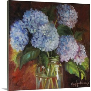 'Blue Hydrangea' by Cheri Wollenberg Painting Print on Wrapped Canvas by Great Big Canvas