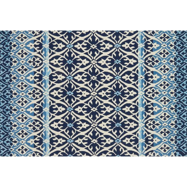 Duvig Hand-Hooked Blue/Ivory Area Rug by Charlton Home
