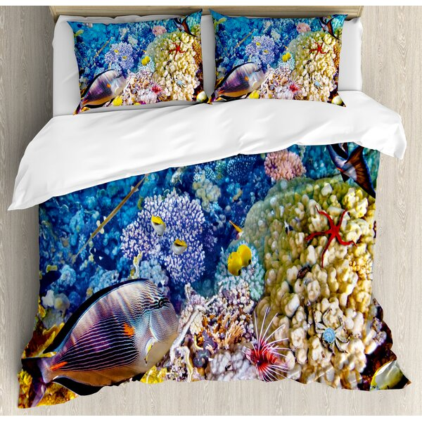 Egyptian Red Sea Bottom View with Marine Creatures Top of Indian Ocean Scuba Image Duvet Set by Ambesonne