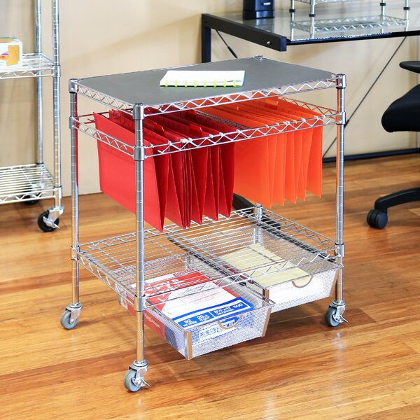 3 Tier Legal Office File Utility Cart With 2 Baskets By Seville Classics.